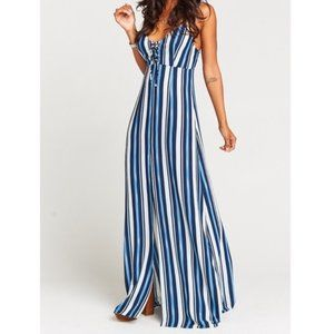 Show Me Your Mumu Leyton Lace Up Maxi Dress Stripe